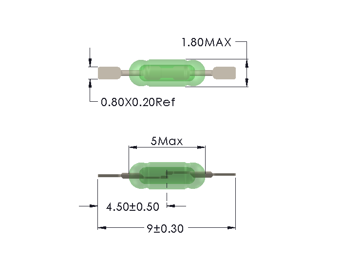 Drawing of UM-0018-M reedswitch cropped