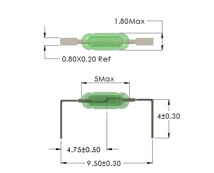 Drawing of UM-0018-M with Formed Leads for Horizontal Mounting