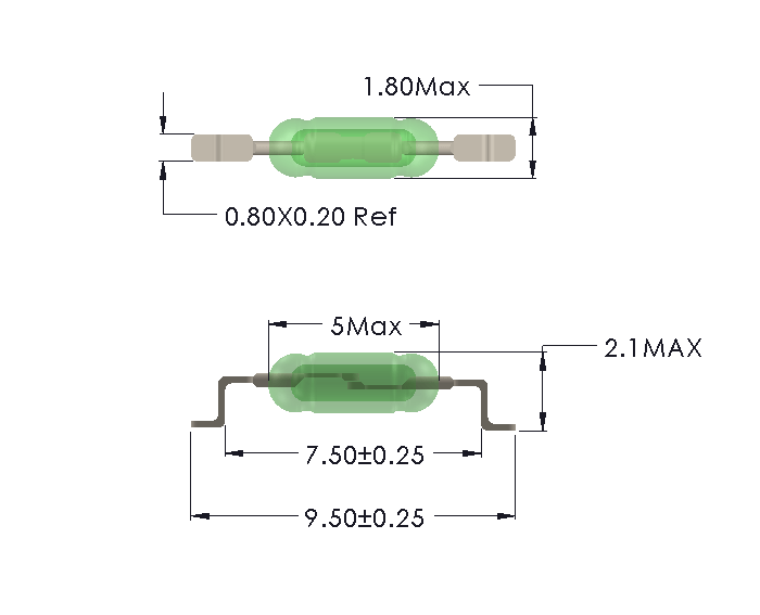 Drawing of UM-0018-M reedswitch for SMD mounting