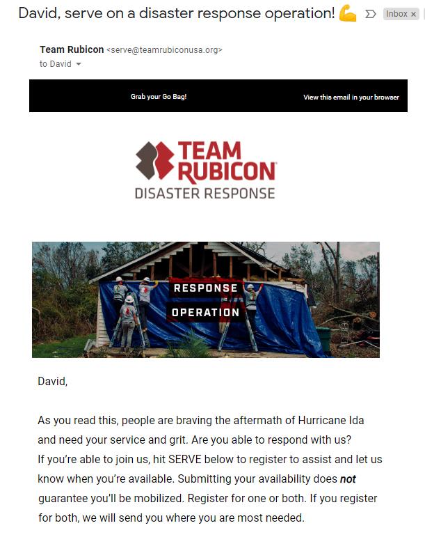 TR responding to Hurricane Ida