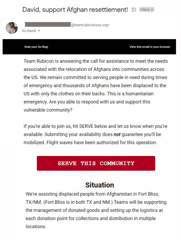 A deployment opportunity to support displaced Afghans via TR's roll call.