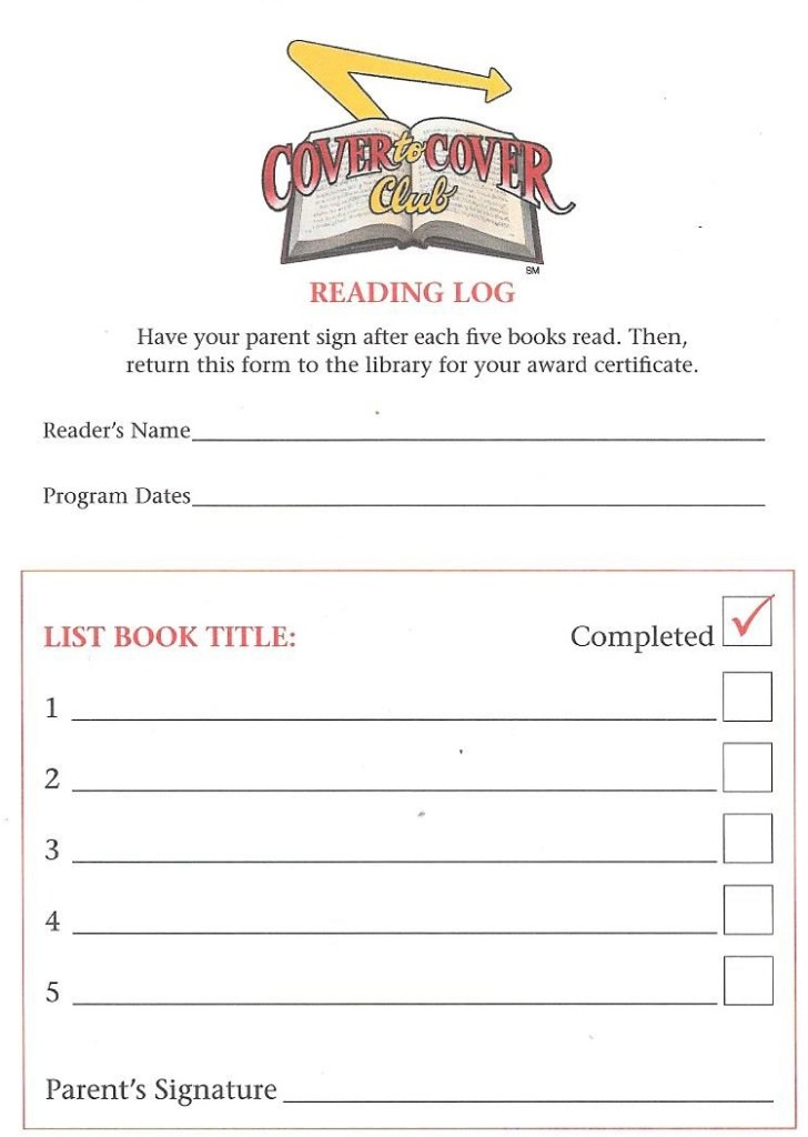 Library Arpil 2016 reading log side a