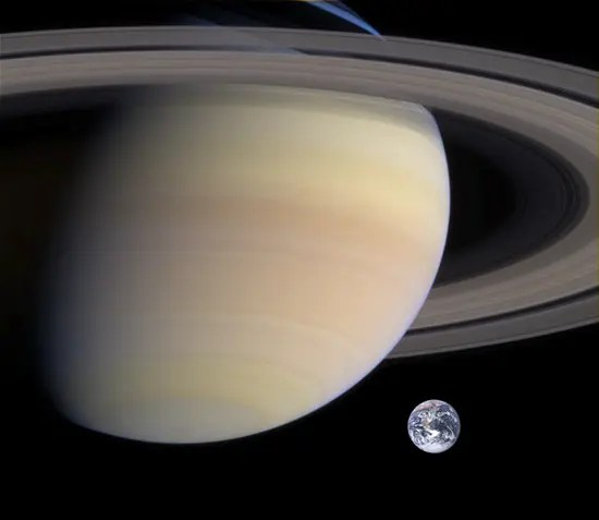 Composite image showing the size of Saturn compared to Earth.
