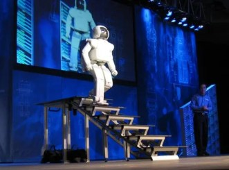 ASIMO can walk up and down stairs