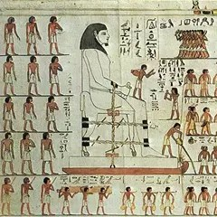 Ancient Egyptian drawing showing how a huge statue is moved