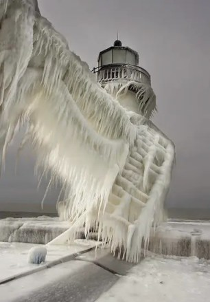 Michigan lighthouse covered in ice
