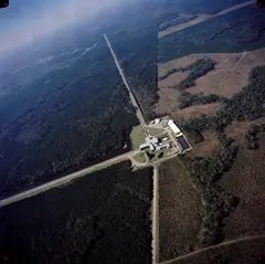 Aerial view of the LIGO experiment in Livingston, Louisiana
