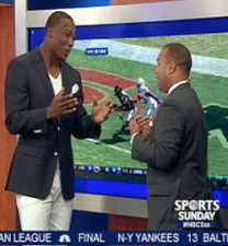 ) Brandon Marshall works telestrator with anchor Laurence Holmes