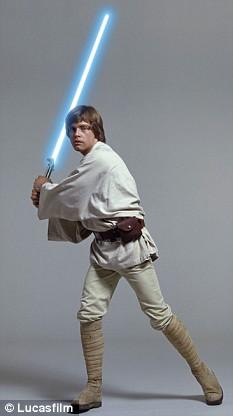 Luke Skywalker brandishing his light saber