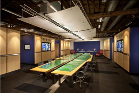 Recycled circuit boards form the conference tables