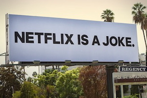 """Battery's """"Netflix is a Joke"""" campaign promoted the service's stand-up comedy specials"""