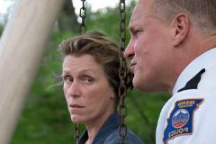 "Frances McDormand and Woody Harrelson in ""Three Billboards..."""