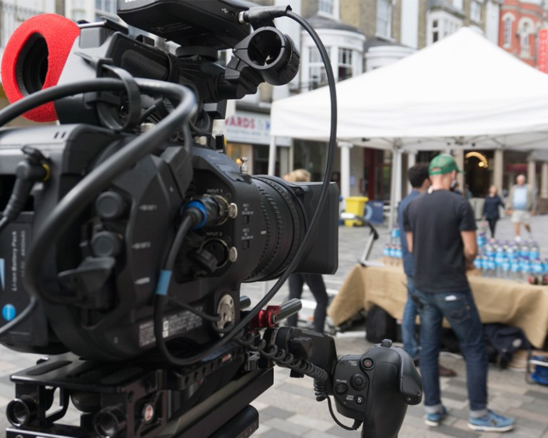 Behind the scenes of FS7 camera on a shoot on a street in Brighton, UK