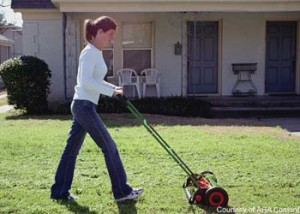 reel mower girl