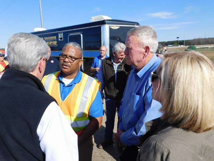 Hon. Kevlin Buck, Mayor of Holly Springs, MS., on location with residents and officials.