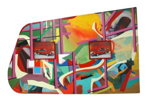 Porsche Kantiano Acrílico sobre madera y dos obras de la colección del Centro Colombo Americano de Bogotá 1994