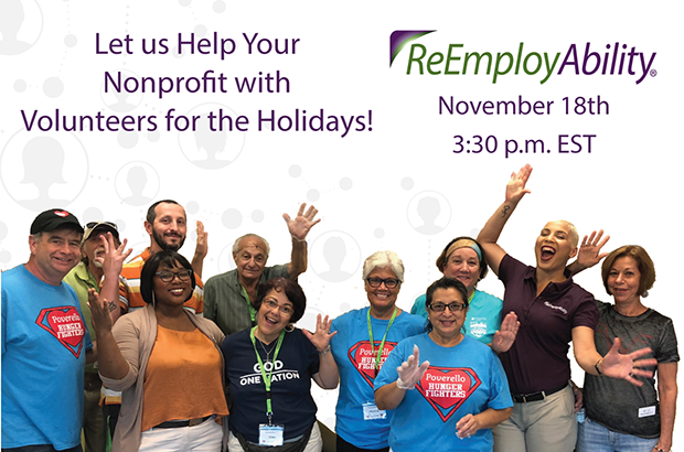 "Join ReEmployAbility for ""Volunteers, Holidays & COVID"" Webinar"