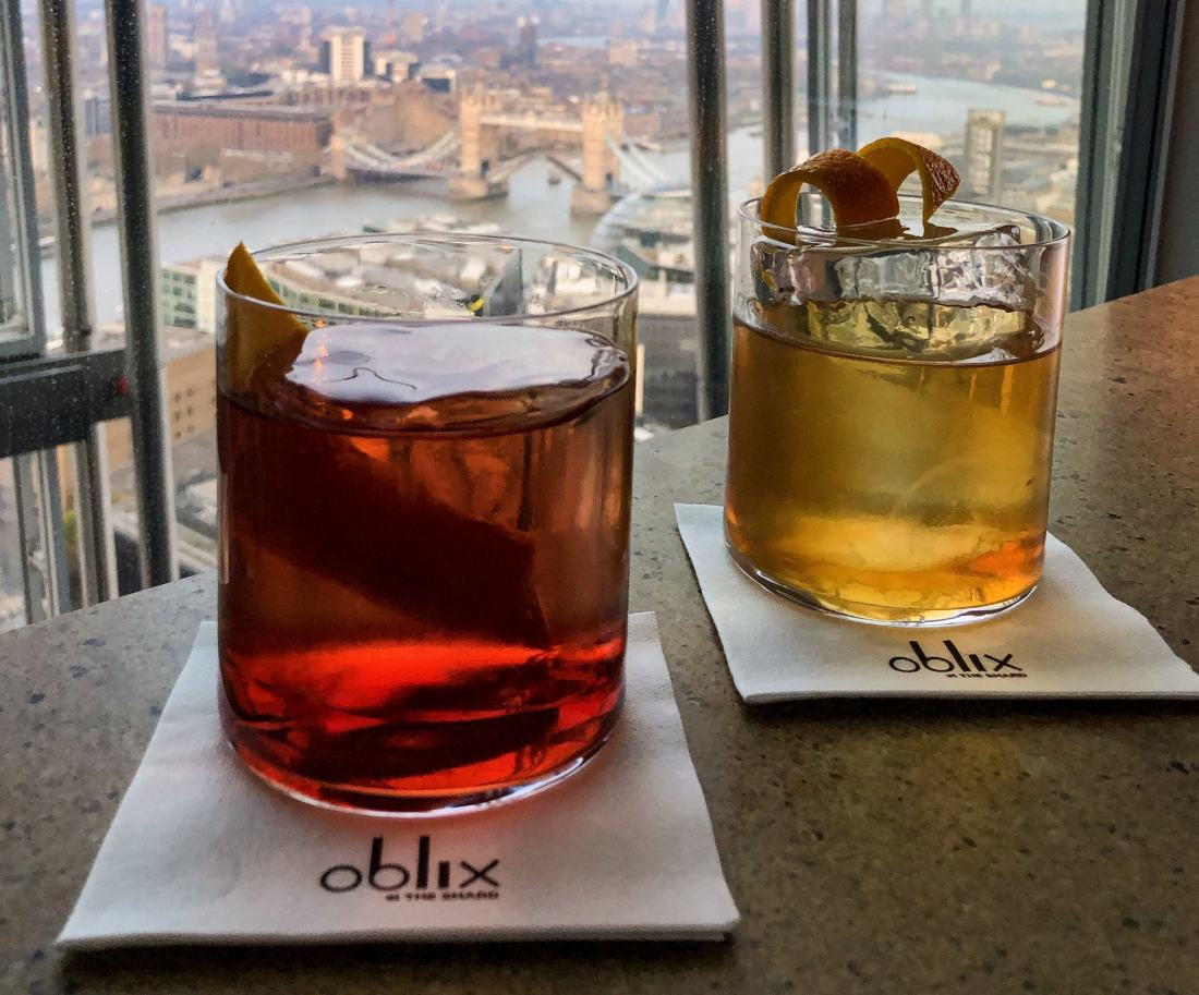A negroni and old fashioned at Oblix at The Shard