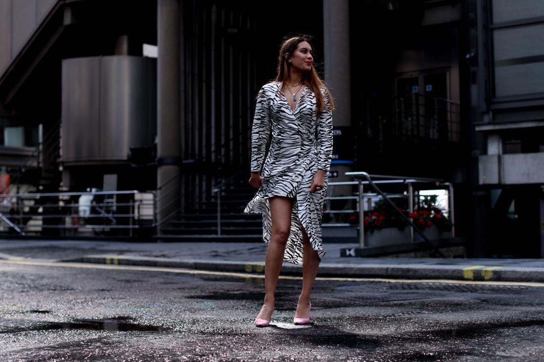 UK blogger Reena Rai wearing a Rixo dress