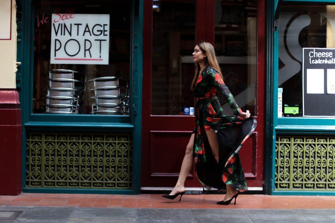 Fashion Blogger Reena Rai wearing Richard Quinn for Debenhams dress