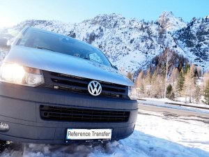VW T5 van seen from the front on a sunny snowy day
