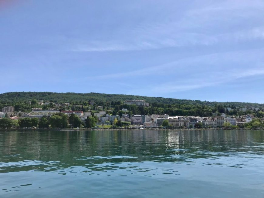 Evian seen from a boat on Leman lake