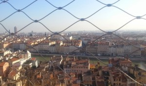 Lyon vieux ville and Rhone seen from uphill