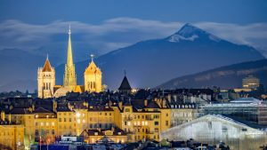 Geneva cathedral by night
