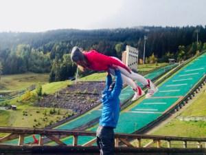 Teenage athlete training for ski jump