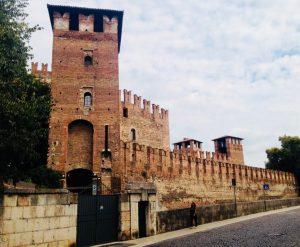 Castle walls seen from a side street