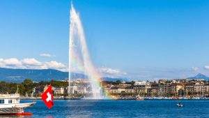 Rainbow visible through the water Jet in Geneva
