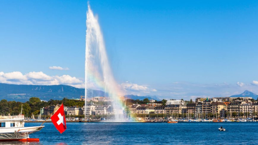 Rainbow visible through the water Jet in Geneva