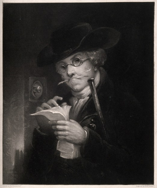 V0015846 Portrait of a debt collector (?) thumbing through his papers Credit: Wellcome Library, London. Wellcome Images images@wellcome.ac.uk http://wellcomeimages.org Portrait of a debt collector (?) thumbing through his papers outside a front door. Mezzotint by W. Bonnar after T. Bonnar the elder. By: Thomas the elder Bonnarafter: William BonnarPublished:  -  Copyrighted work available under Creative Commons Attribution only licence CC BY 4.0 http://creativecommons.org/licenses/by/4.0/
