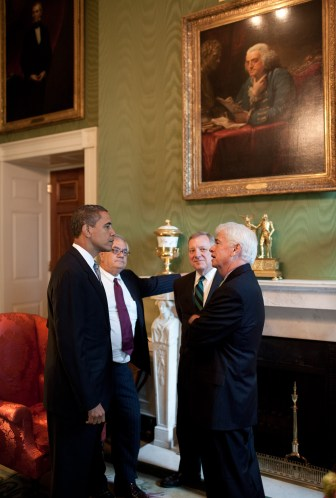 President Barack Obama meets with Rep. Barney Frank, (D-Mass), Sen. Dick Durbin, (D-Ill), and Sen. Chris Dodd, (D-Conn) by White House (Pete Souza)