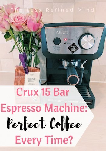 Are you looking for a fab espresso coffee machine to use at home and want to be sure you choose the best coffee machine? Read this Crux 15 bar espresso coffee machine review to see if this is the one for you! #coffee #espresso #espressomachine