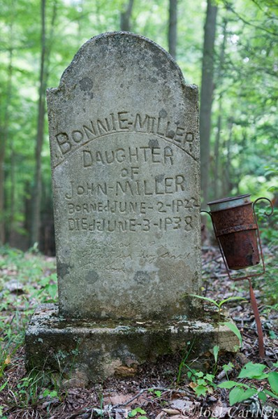 Bonnie Miller grave in Lost Cove, North Carolina