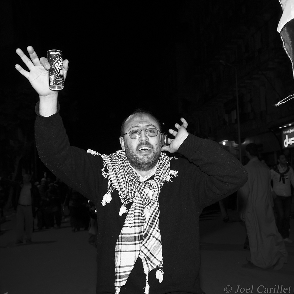 Celebrating the resignation of Hosni Mubarak in Cairo, Egypt