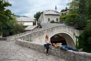 People at Crooked Bridge in Mostar, Bosnia and Herzegovina