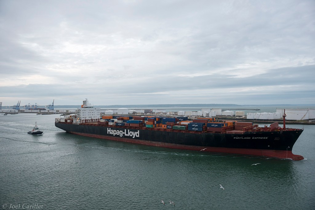 Ship leaving Le Havre, France