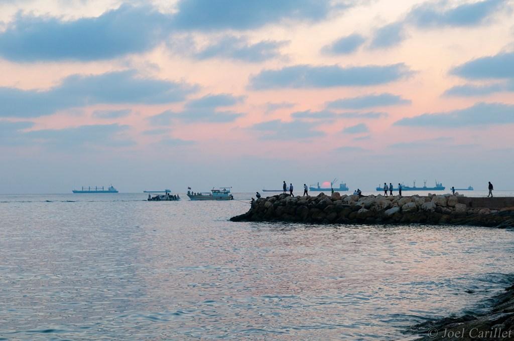 ships at sunset in Tartus, Syria