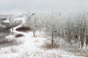 Man hiking Appalachian Trail in winter snow