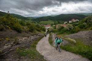 Hiking the Camino de Santiago in Linzoáin, Spain