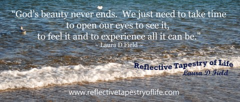 """God's beauty never ends.  We just need to take time to open our eyes to see it, to feel it and to experience all it can be.""~ Laura D. FieldEcclesiastes 3:11 ""He has made everything beautiful in its time."""