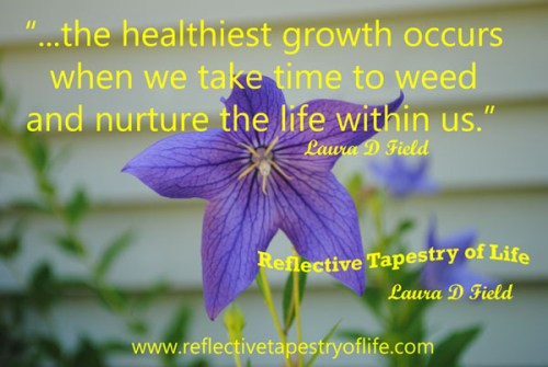 """...the healthiest growth occurs when we take time to weed and nurture the life within us. ""<br /><br /><br /><br /><br /><br /><br /> ~  Laura D Field  ~"