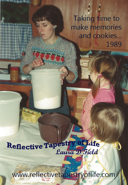 1989 baking with our two oldest daughters when they were 2 and 3 yrs old.