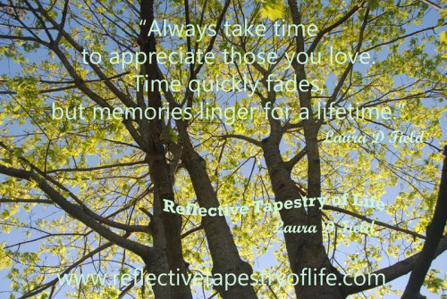 """Always take time to appreciate those you love.  Time quickly fades, but memories linger for a lifetime."" ~ Laura D. Field ~ Photo taken 5May2013 looking up into our Maple tree in the center of our back yard.  Photo by Laura"