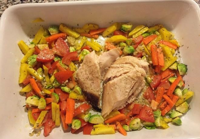 Kylling med rodfrugter og rosenkål