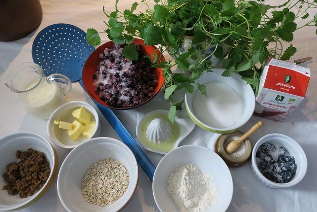 Ingredienser til blåbærs med karamel
