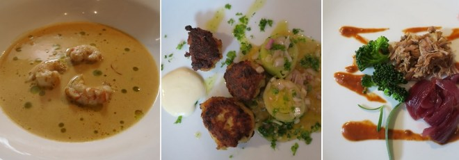 Tre tapas: Hummerbisque, fiskefrikadeller, pulled lam