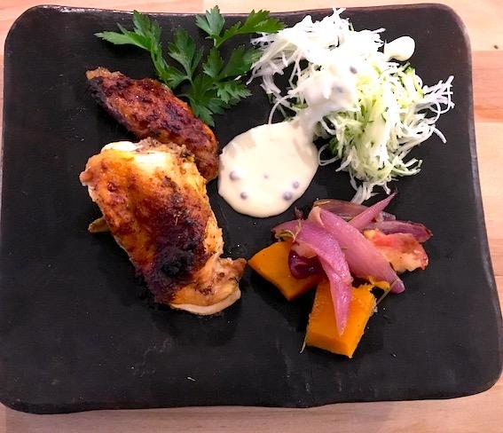 Kylling Ras el hanout med bagte grøntsager.